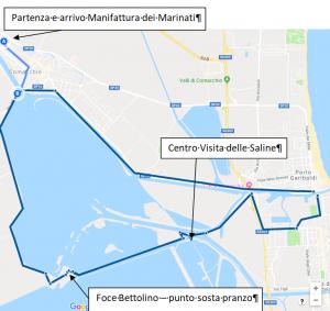 Comacchio Destinazione per tutti Tour esplorativo / culturale / gastronomico / ambientalista nel Delta del Po l'immagine illustra il percorso ciclabile